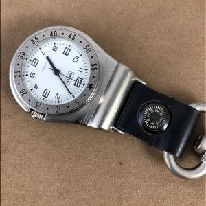 Vintage Levi's clip on Silver watch with compass